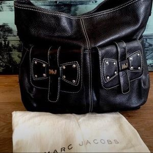Marc Jacobs Black Pebbled Leather Large Hobo